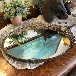 Vintage oval vanity mirror tray with birds